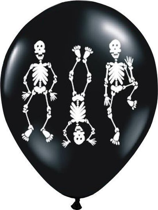 Halloween Ballonnen Skelet 25cm 6st