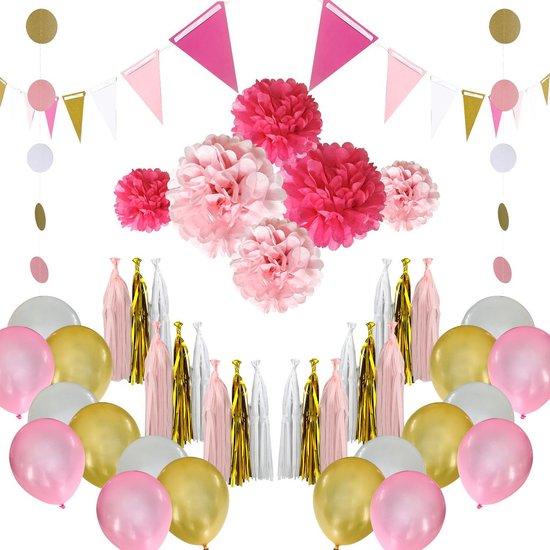 Bol Com Feest Versiering Roze Goud Wit Verjaardag Versiering Ballonnen Pompons Goud