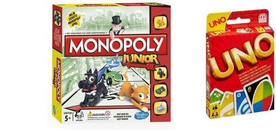 Afbeelding van het spel Gezelschapsspel - Uno & Monopoly Junior - 2 stuks