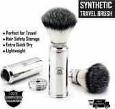 Mannen Reizen Friendy Scheerkwast (Shaving Borstel) Met Synthetisch Haar In Roestvrij Staal Handvat , Travel Brush