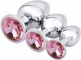Metalen Buttplug Set 3 delig - Anal Plug Set voor Mannen en Vrouwen - Roze