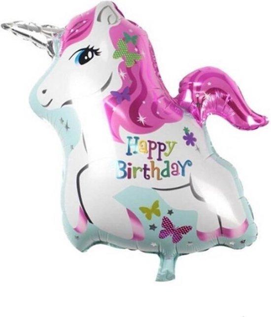 Folieballon Eenhoorn Happy Birthday 25 x 20 cm