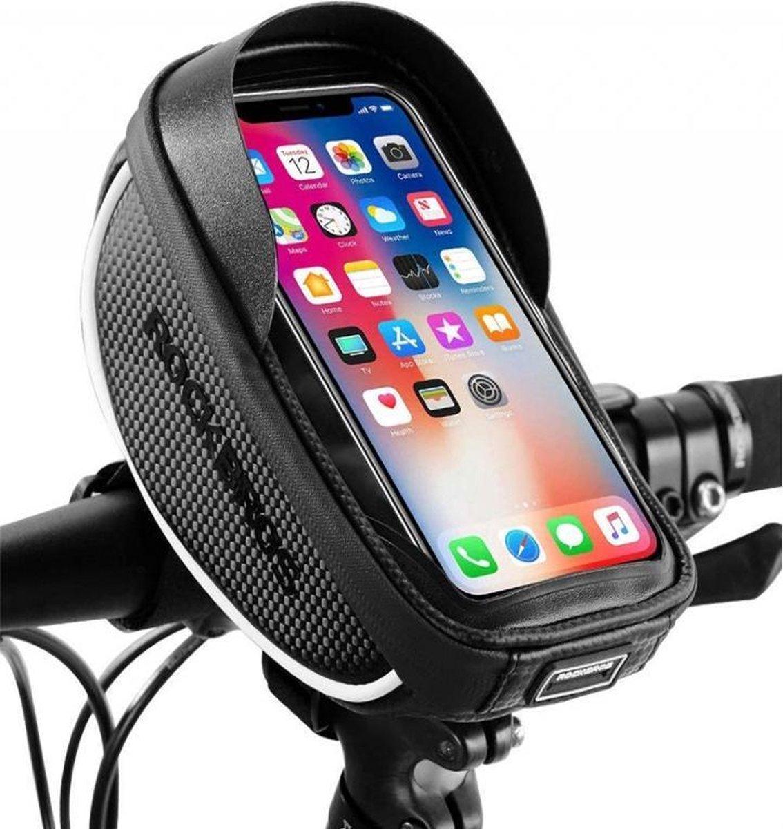 Originele waterdichte fiets stuurtas met telefoonhouder en opbergvak - Fiets stuur smartphone tas -