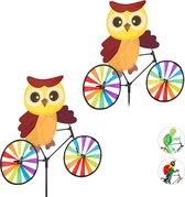 relaxdays 2 x windmolen uil - fiets - windspel - tuinsteker - tuin - kinderen decoratie