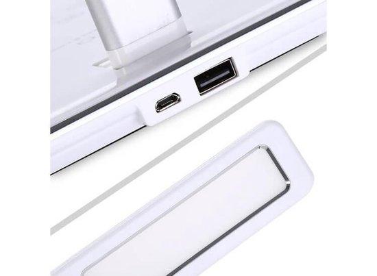 Bureaulamp met QI Draadloos Opladen - Dimbaar - Zwart - Verstelbare Kleurtemperatuur (2800 ~5600K) - USB Oplaadpoort - Verstelbaar - Tot 800 Lumen - Met Timer - Koudwit, Daglicht & Warmwit Instelbaar - Basic
