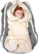 Wallaboo Babydeken Fleur -  Handige wikkeldeken en wrapper - 100% zacht  katoen - past in een autostoel - 85 * 85 cm - Ecru