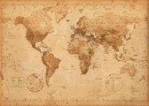 XXL Wereldkaart -antieke stijl - poster - 140x100 cm -extra groot large - vintage wereldkaart -Multi