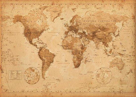 Verbazingwekkend bol.com | Wereldkaart antieke stijl poster extra groot 100x140cm LX-04