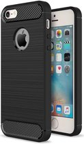 Apple iPhone 5(S)/SE Geborsteld TPU Hoesje Zwart