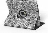 Apple iPad Hoes - 360° Draaibaar - Voor de iPad Air 2 - Abstract 'Cirkels Zwart en Wit' - Uniek Design
