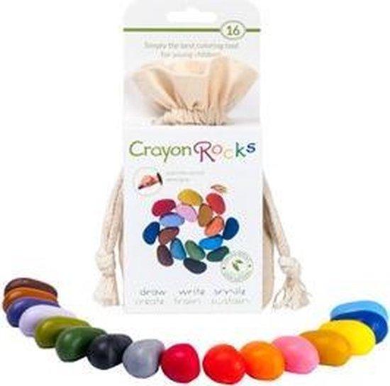 Crayon Rocks - ecologische niet giftige waskrijtjes, pengreep stimulerend - 16 kleuren in een katoenen zakje