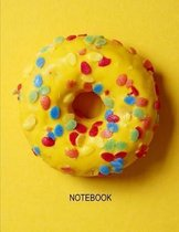 Notebook. Yellow Donut Cover Design. Composition Notebook. Wide Ruled. 8.5 x 11. 120 Pages.
