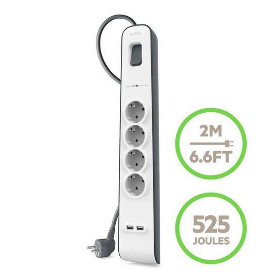 Belkin Stekkerdoos met 4 uitgangen en 2 USB poorten 2.4A - overspanningsbeveiliging