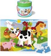 Vloerpuzzel Boerderij - Simply for Kids - 48 Grote Stukken - In Ton
