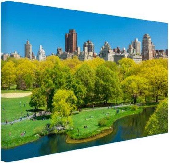 Groen Central Park in NY Canvas 60x40 cm - Foto print op Canvas schilderij (Wanddecoratie woonkamer / slaapkamer) / Steden Canvas Schilderijen