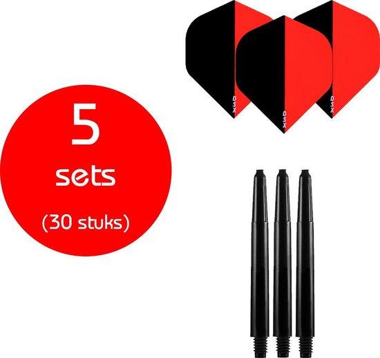 Dragon Darts - 5 sets (30 stuks) - medium - darts shafts - inclusief - two-tone - darts flights - zwart-rood