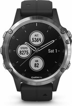 Garmin Fenix 5 Plus - GPS multisport smartwatch met polshartslagmeter - 47 mm - Zilver/Zwart