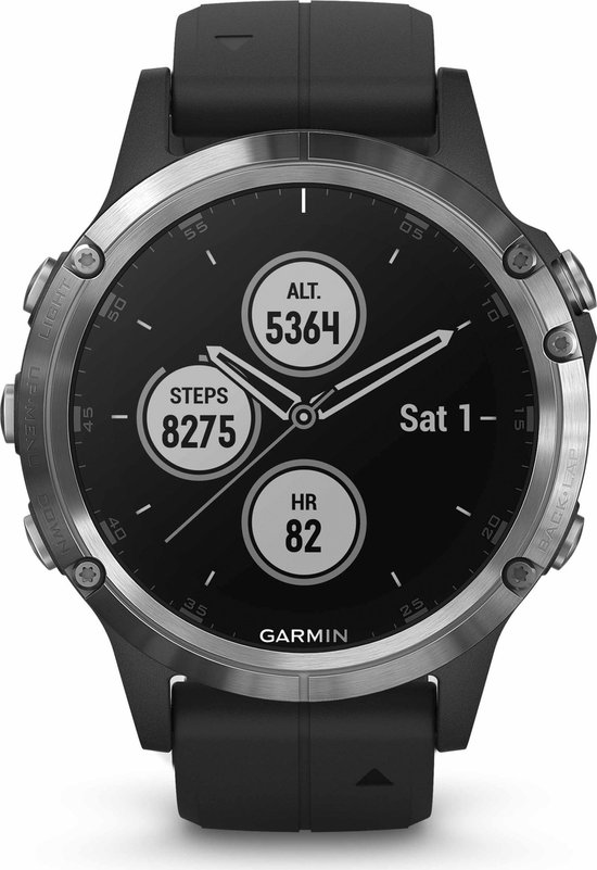 Garmin Fenix 5 Plus - Multisport smartwatch - 47 mm - Zilver/Zwart