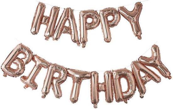 Folieballon - 40cm - Happy birthday - Rose