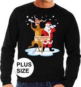 Grote maten foute kersttrui / sweater dronken kerstman en rendier Rudolf na kerstborrel/ feest zwart voor heren - Kersttruien 3XL (58)