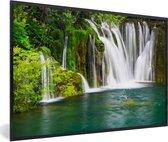 Foto in lijst - Verschillende watervallen bij het Nationaal park Erawan in Thailand fotolijst zwart 60x40 cm - Poster in lijst (Wanddecoratie woonkamer / slaapkamer)