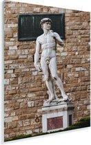 Het standbeeld van David van Michelangelo voor een stenen muur Plexiglas 20x30 cm - klein - Foto print op Glas (Plexiglas wanddecoratie)