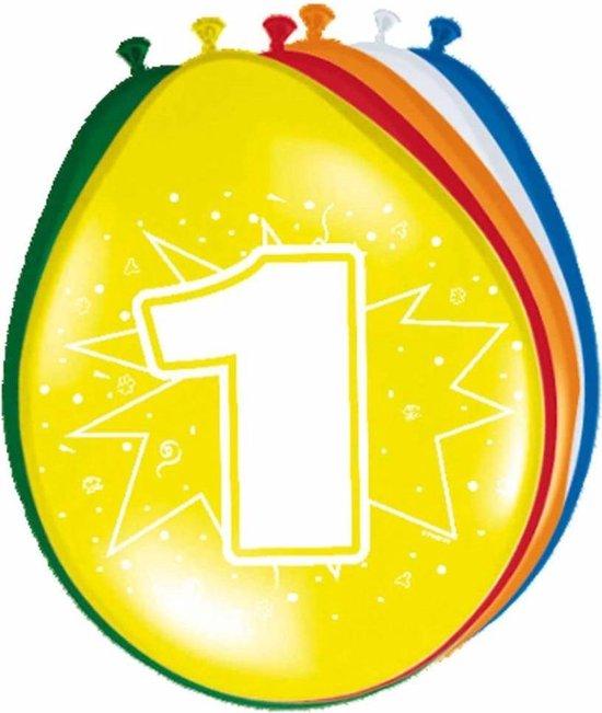 Ballonnen ster 30 cm: 1 jaar - 8 stuks (08201)