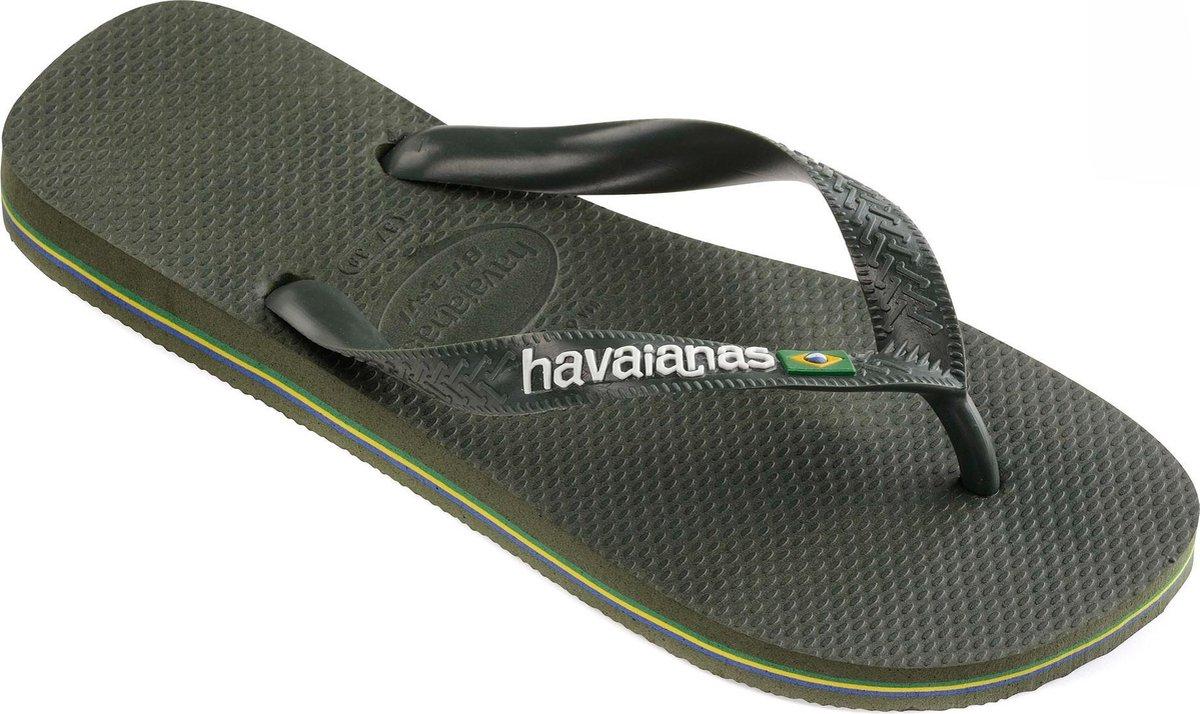 Havaianas Brasil Logo Unisex Slippers - Green Olive - Maat 41/42