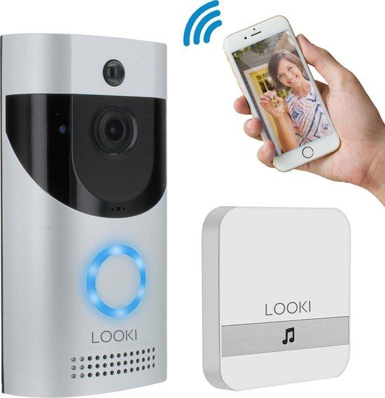 Looki® X6 draadloze video deurbel inclusief ontvanger en batterijen – Gratis Cloud service – Full HD - Bewegingsdetectie en Two-way Audio - HD WiFi beveiligingscamera met app – Werkt op batterij en/of netstroom - Offline ring functie - Grijs
