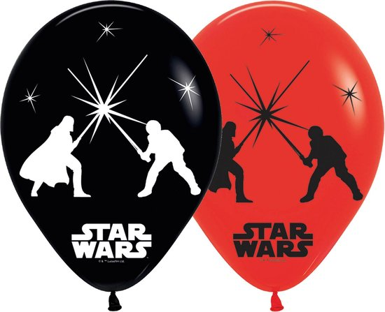 5 Latex Balloons LED Star Wars 28 cm