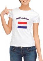 Wit dames t-shirt met vlag van Holland S