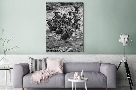Super bol.com | Een grote kudde Gnoe's zwart wit Canvas 120x160 cm FK-47
