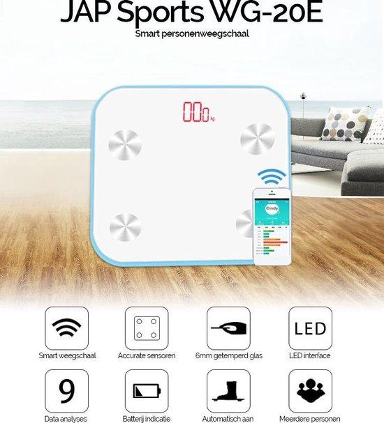 JAP Sports WG-20E - Digitale personenweegschaal - Met lichaamsanalyse - Wit