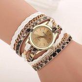 Geneva Horloge Armband Wit Goudkleurig