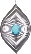 BlinQ Art Windspinner Bladvorm RVS - 195x140mm - Glaskogel 35mm blauw