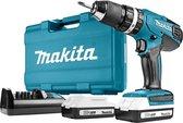Makita 18 V Klopboor-/schroefmachine - HP457DWE10 - Met 74-Delige accesoireset