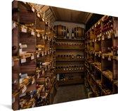 Een wijnkelder Canvas 90x60 cm - Foto print op Canvas schilderij (Wanddecoratie woonkamer / slaapkamer)