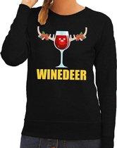 Foute kersttrui / sweater wijntje Winedeer zwart voor dames - Kersttruien XS (34)