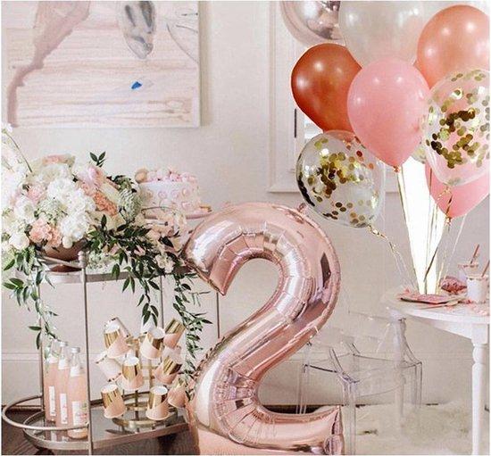 Folieballon XL - 81cm - Cijfer 2 - Rose