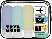 TravelMore Navulbare Silicone Reisflesjes met Transparante Etui - Vliegtuig en Handbagage Set met Reis potjes en Flacons en Doorzichtige Toilettas - 6 stuks