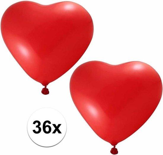 36x hartjes ballonnen rood