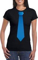 Zwart t-shirt met blauwe stropdas dames 2XL