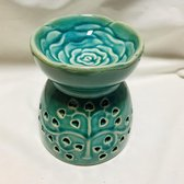 Aromabrander voor geurolie of wax smelt.Mooie aromatherapie-oliebrander in lichtblauw keramiek met' Boom van het leven' 10x11cm