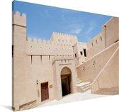 Het Omaanse Nizwa Fort in Azië tijdens een zonnige dag Canvas 30x20 cm - klein - Foto print op Canvas schilderij (Wanddecoratie woonkamer / slaapkamer)