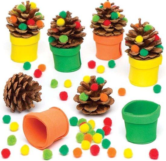 Sets met dennenappel-bomen in herfstkleuren (6 stuks per verpakking) Voor kinderen om te maken en versieren