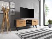 TV Meubel Zwart & Eiken - Scandinavisch Design - 140x38x52 cm