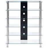 vidaXL Hifi-meubel 90x40x113 cm gehard glas transparant  VDXL_280097