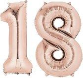 18 jaar | Cijfers | Rose Goud | 100 cm hoog | Folieballon | Feestversiering | Verjaardag | Versiering