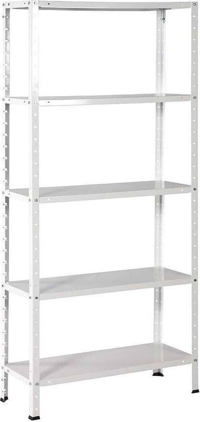 Opbergrek - 300 kg draagkracht - 170 cm hoog - 73 cm breed – 5 verstelbare legborden - Metaal - Wit