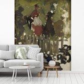 Fotobehang vinyl - Kermis - Schilderij van George Hendrik Breitner breedte 225 cm x hoogte 270 cm - Foto print op behang (in 7 formaten beschikbaar)